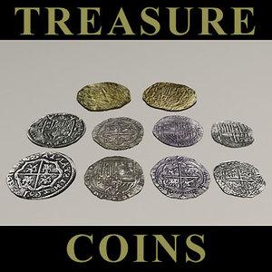 shipwreck treasure gold coins 3d max