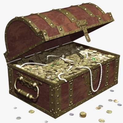 3d old pirate chest treasure