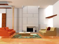 simple living room 3d lwo