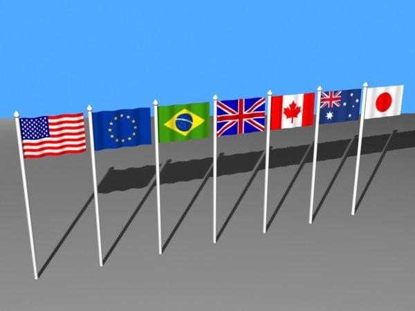 usa flag 3d model