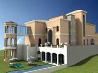 spanish villa 3d model