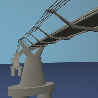 millennium bridge london 3d model