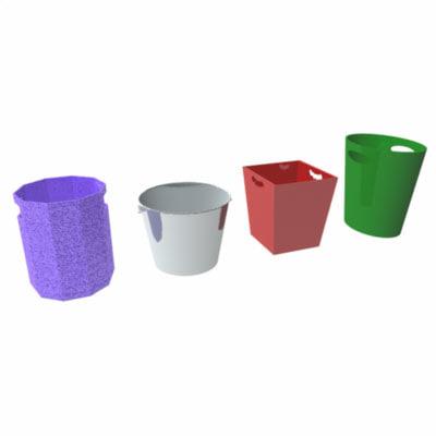 3d waste baskets wastebaskets model