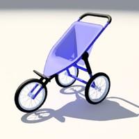 baby jogger stroller 3d model