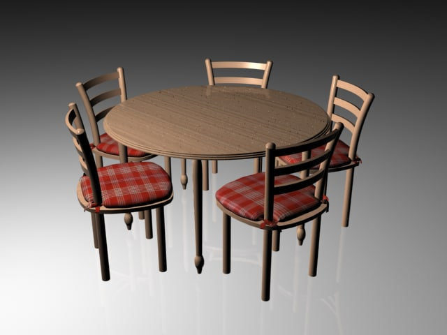 3d table ladderback chair combo