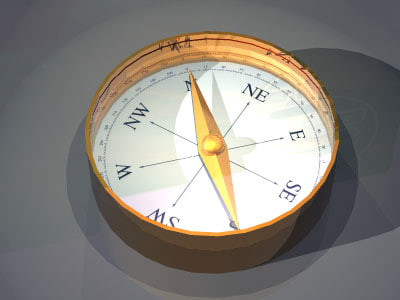 3d model of magnetic compass