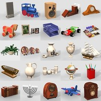 3d 50 items shelves model