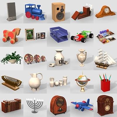 3d 50 items shelves model