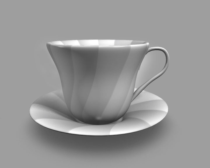 3d model of cup saucer