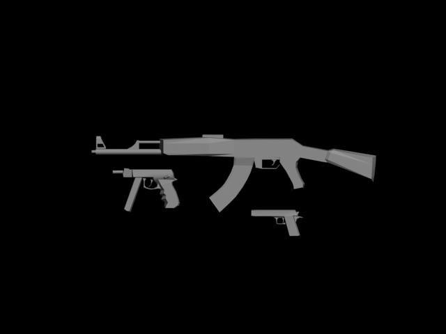 3d model ak-47 tec-9 desert