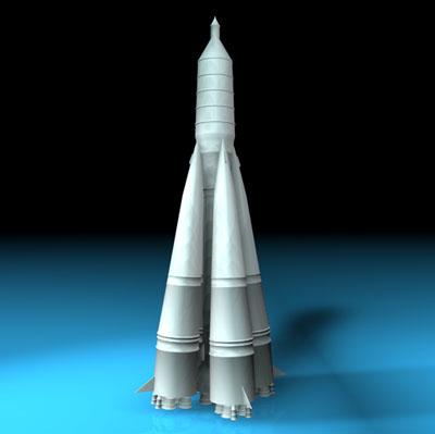 8k71ps sputnik rocket r-7 3d model