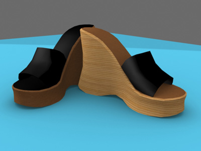 platform shoes female 3d model