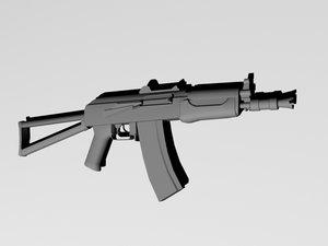 free ak 74 rifle 3d model