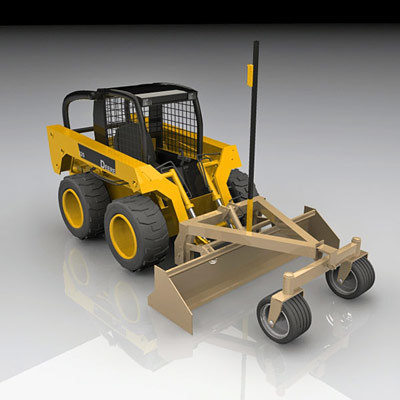 skidsteer power rake 3d model