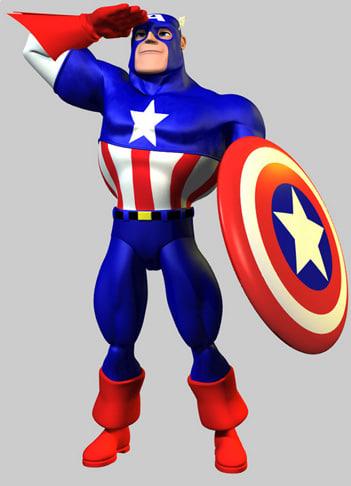 3d model captain america