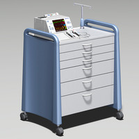 cardiac defibrillator crash cart 3d model