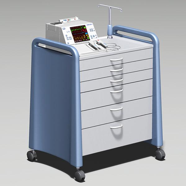 cardiac defibrillator crash cart 3d model