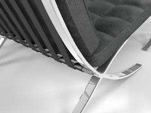 3d model long armchair barcelona