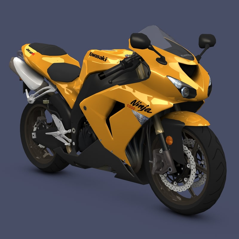 kawasaki ninja sport bike 3d model