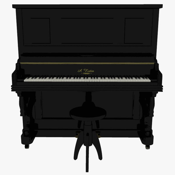 victorian upright piano 3d model