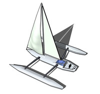 trimaran sailboat 3d 3ds