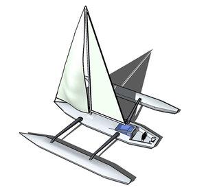 trimaran sailboat 3d 3ds