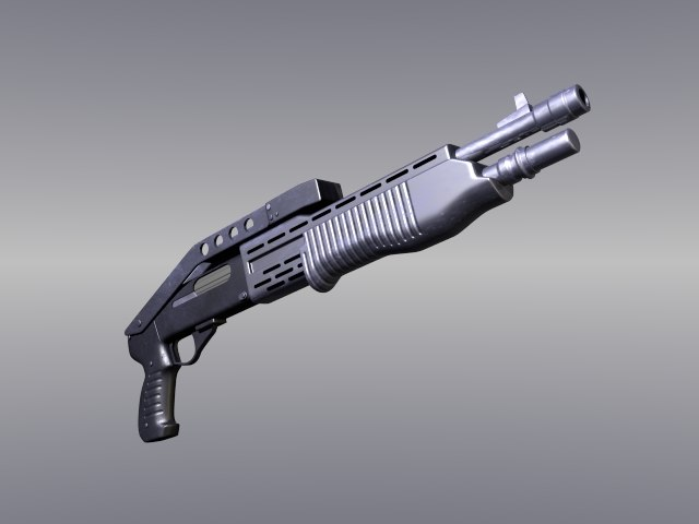 pump action shotgun 3d model