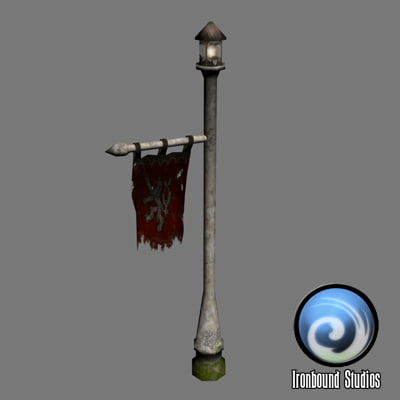 3ds max flag animations post lamp
