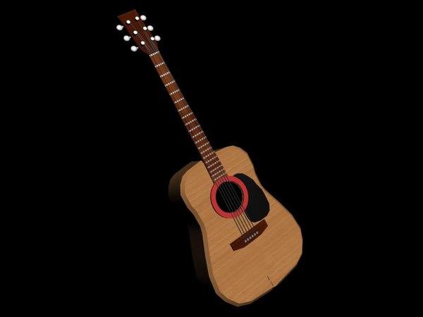 3d model of guitar nylon