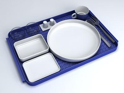 airlines meal set 1980 3d model