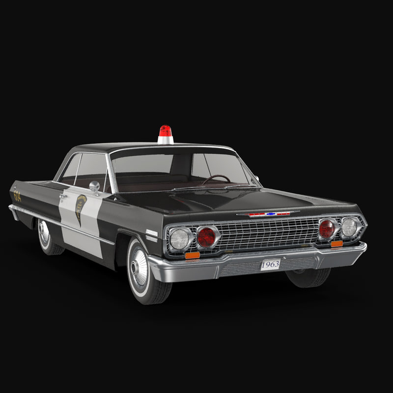 3d chevy impala 64 police car