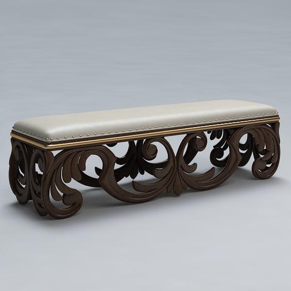 3d model bench sofa