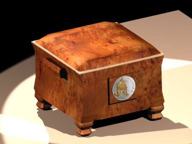 3d wooden chest model