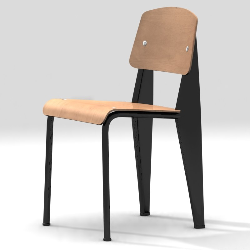 3d model standard chair jean prouve