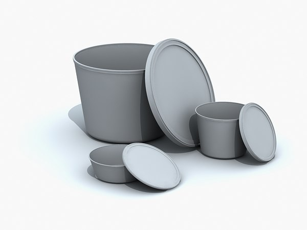 plastic containers butter tubs 3d model