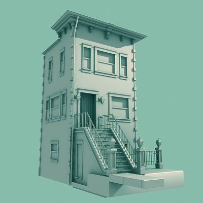 3d architectural nyc brownstone model