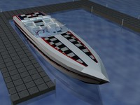 3d racing boat speed model
