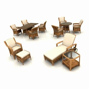 3d model wicker garden furniture armchair