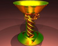 3d model gold dragon chalice