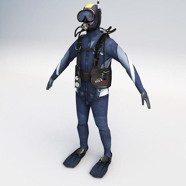 character scuba diver 01 3d model