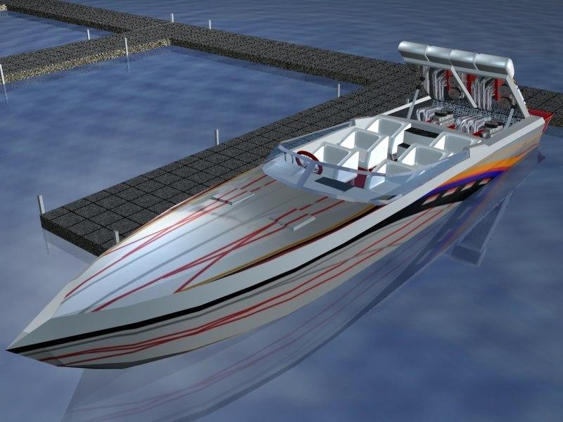 38 speed boat 3d model