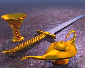 3d gold dragon fantasy genie lamp model