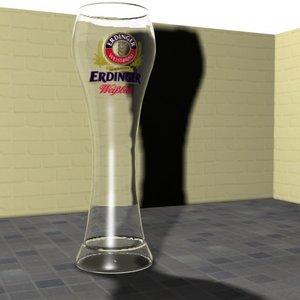 3d tall beer glass erdinger model