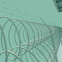 3d model prison guard tower fence