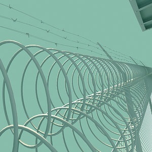 3d model prison guard tower fence