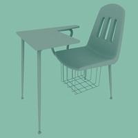 3d model school desk