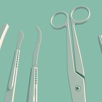 tools autopsy scalpels 3d model