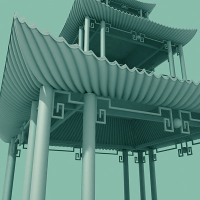 3dsmax asian pagoda