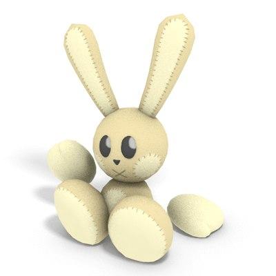 3d bunny plushie model