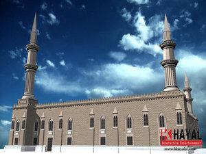 al hussein mosque 3d max